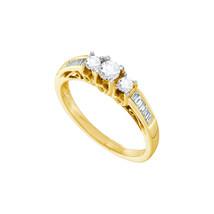 14k Yellow Gold Round Diamond 3-stone Bridal Wedding Engagement Ring 1/2... - $719.00
