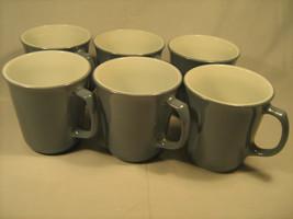 [Y3] Set of 6 PYREX Coffee Cups 8 oz. Light blue Milk Glass - $55.82