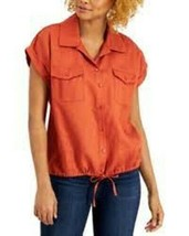 Willow Drive Women's TIe Front 2-Pockets Button Down Blouse Top Size S - $18.91