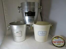 3 rare french champagne bucket France modernist mid century bauhaus design - $140.00