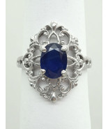 1.20ct Oval Sapphire & Diamond Filigree Ring Platinum Size 6.75 Gemworld - $1,676.50