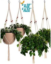 Plant Hanger Macrame 43in and 38in Pure Cotton Rope with Red Wood Beads ... - $27.27