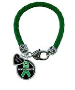Holly Road Mental Health Green Leather Bracelet Jewelry Choose Your Text - $19.79