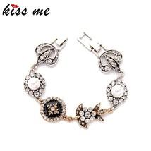 KISS ME Brand Geometric Enamel Crystal Simulated Pearls Bracelets for Wo... - $10.25