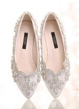 Women Ivory White Swarovski Crystals Wedding Shoes,Bridal Flats Shoes US... - $88.00