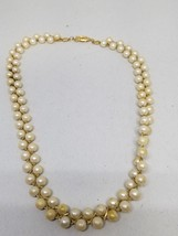AVON Double Row Faux White Pearls with Gold Tone Cross Weave Choker Neck... - $11.69