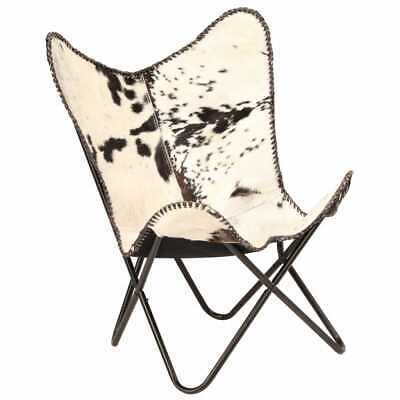 vidaXL Genuine Goat Leather Butterfly Chair Black White Armchair Furniture image 10