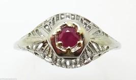 18K Gold Filigree .15ct Genuine Natural Ruby Ring (#J3263) - $335.75