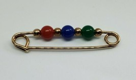 Vintage 1980s Avon Classic Beaded Safety Pin Brooch - $12.00