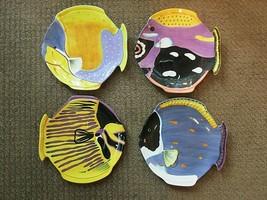 "STUDIO NOVA Set of 4 Tropical Island Fish Dinner Plates Nautical 10"" Colorful EX - $99.95"