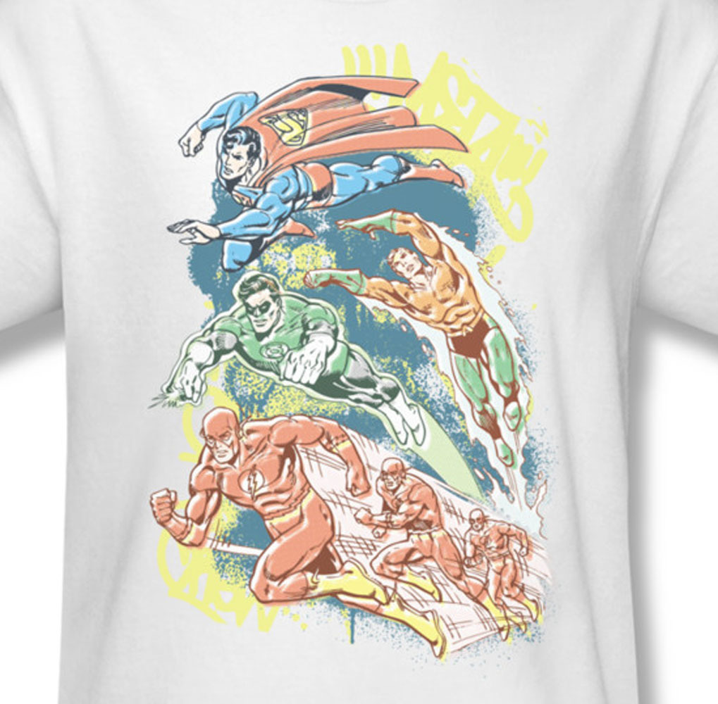 DC Comics Superman Green Lantern Aquaman Flash Graphic T'shirt Superhero DCO238