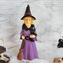 Witch Fairy Garden Kit, Miniature Halloween Village Set, Skeleton black cat owl image 4