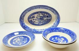 Vintage Homer Laughlin Blue Willow Pattern Vegetable Bowl Cereal Bowls * Saucers - $18.61