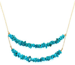 Handmade 14-kt Gold Filled Brass Double Layered Necklace with Turquoise ... - $441.22