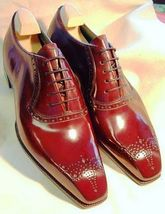 Men's Oxford Genuine Leather Maroon Red Handcrafted Medallion Toe Lace Up - $144.99+