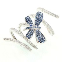ZirconZ Custom-Pave Blue+Clear Signty CZ Spiral Butterfly Knuckl 925 Silver Ring - $119.99