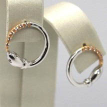 Drop Earrings White Gold Pink 18K,Circle, Snake, Zircon image 2