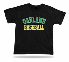 Oakland BASEBALL t-shirt tee green white yellow CA USA summer apparel field - $7.57