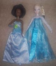 Disney Barbie Doll LOT 2 - Elsa Frozen Sparkle & Tiana Princess and the ... - $5.89
