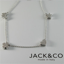 925 RHODIUM SILVER JACK&CO NECKLACE STAR BUTTERFLY HEART CLOVER MADE IN ITALY image 1