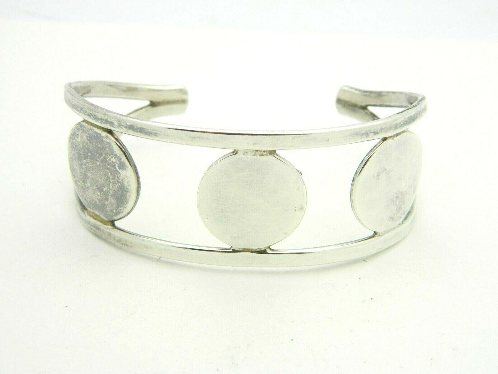 Sterling Silver .925 MEXICO JRI Modern Circles Cuff Bracelet 30 gram Vintage - $59.39