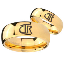 Bride and Groom CTR Dome Gold Tungsten Carbide Mens Engagement Ring Set - $79.98