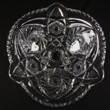 Eapg Pinwheel And Hobstar Footed Compote Candy Dish Clear Glass Pattern - $24.95
