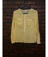 Ann Taylor Loft Yellow Oval Print Watercolor Long Sleeve Blouse Button P... - $17.99