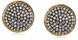 Atelier Mon Round Gold Plated Pavé Set Cubic Zirconia Studs Earrings