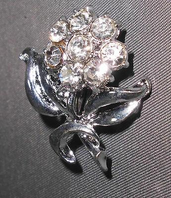 VTG Silver Tone Rose Flower Clear CZ Rhinestone Pin Brooch