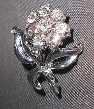 VTG Silver Tone Rose Flower Clear CZ Rhinestone Pin Brooch - $19.80