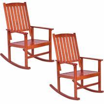 Set of 2 Wood Rocking Chair Porch Rocker Indoor Outdoor Patio Deck Furni... - $185.98