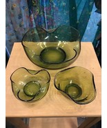 3 Piece Vintage Green Chips And Dips Party Serving Dishes Glassware - $56.55