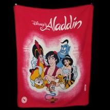 VTG Disney Aladdin Pink Thick Heavy Plush Blanket Jafar Genie Abu Jasmin... - $140.24