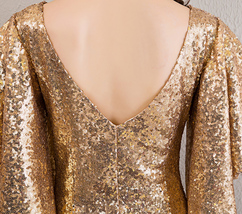 Sexy Golden Bat Sleeve Maxi Long Sequin Dresses Fitted Sequined Cocktail Dress image 9