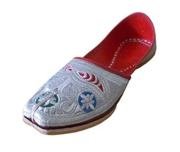 Men Shoes Indian Handmade Traditional Punjabi Khussa Leather Silver Jutties US 9 - $39.99