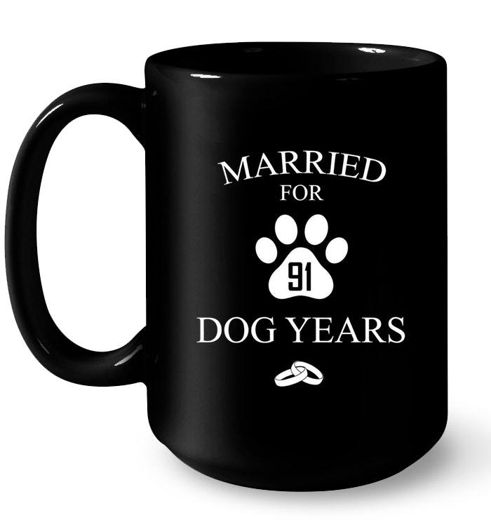 13th Wedding Anniversary Gift For Her: Married For 91 Dog Years 13th Wedding Anniversary Gift