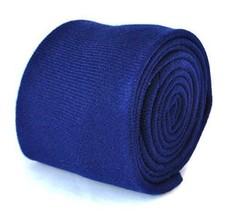 Frederick Thomas plain skinny dark royal blue 100% wool tweed tie