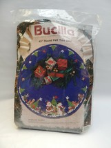 "Vtg Bucilla 43"" Round Felt  Christmas Tree Skirt Kit Woodland Holiday 19... - $44.54"
