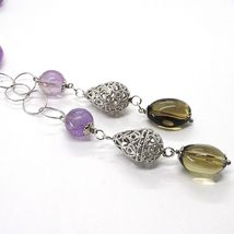 925 Silver Necklace, Amethyst Round and Rectangular, Smoky Quartz Oval, Pendant image 3