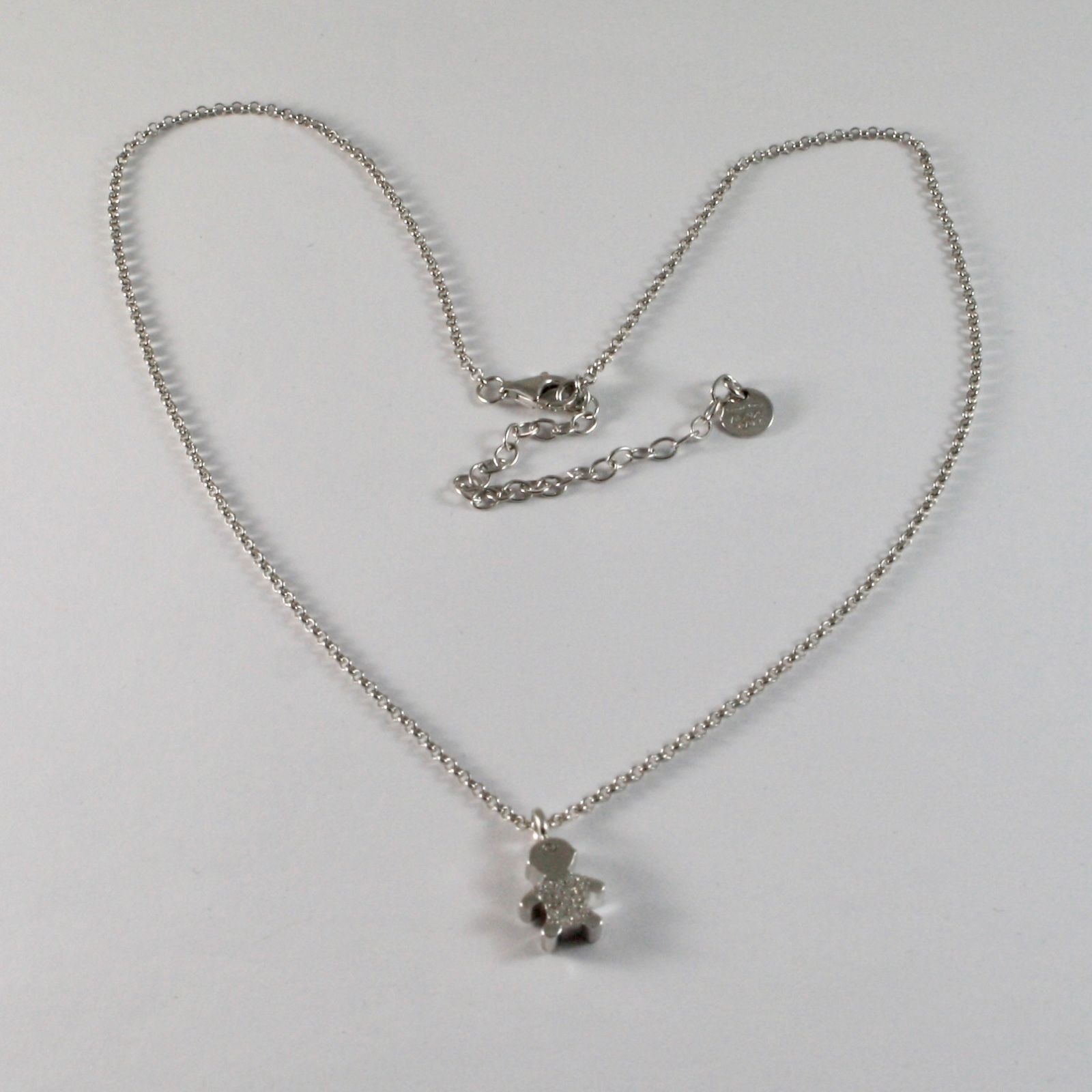925 STERLING SILVER NECKLACE JACK&CO WITH CHILD WITH ZIRCON CUBIC WHITE JCN0616