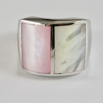 Ring Band Silver 925 with Nacre Rectangular White and Pink image 2