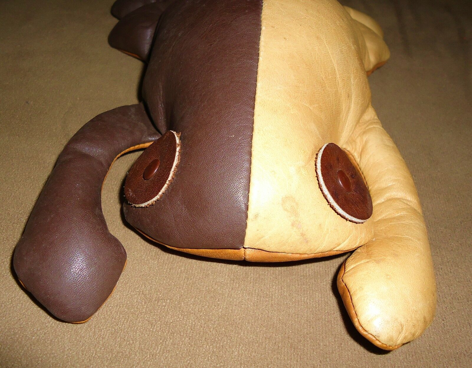 MUNDI Leather Frog Animal Reptile Plush DecorHand Crafted BRAZIL VTG ESTATE RARE image 9