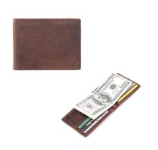 Men Crazy Horse Leather Money Clips Genuine Leather Bifold Open Clamp Money Clip - $9.90