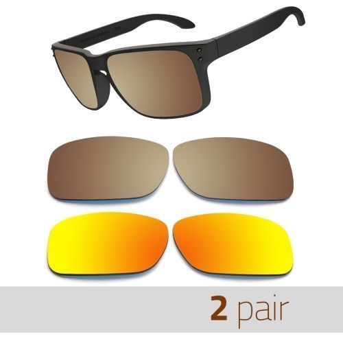 Optico Replacement Polarized Lenses for Oakley Holbrook Sunglasses Brown+FireRed