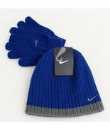 Nike Blue & Gray Knit Beanie & Stretch Gloves Youth Boy's 8-20 NWT - $29.69