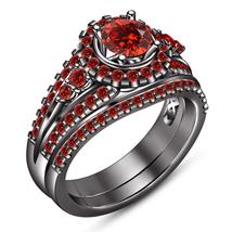 Round Cut Red Garnet Bridal Engagement Ring Set 14k Black Gold Plated 925 Silver - $109.80