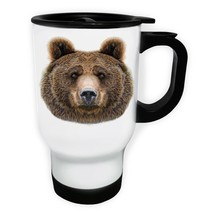 Bear Bautiful Picture  White/Steel Travel 14oz Mug z618t - $17.93