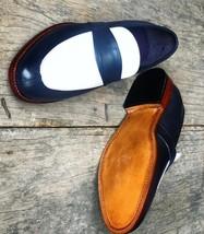 Handmade Men's Black & White Slip Ons Loafer Leather Shoes image 3