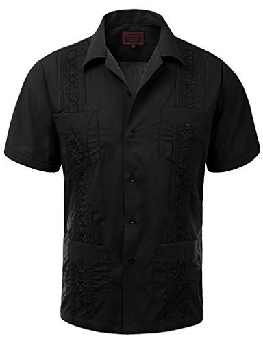 Guayabera Men's Cuban Beach Wedding Short Sleeve Button-Up Casual Dress Shirt (2